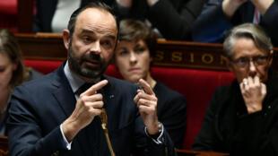 Le Premier ministre Édouard Philippe à l'Assemblée nationale lors des questions au gouvernement, le 19décembre2018.