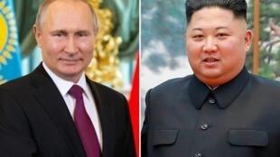 زعيم كوريا الشمالية كيم جونغ أون والرئيس الروسي فلاديمير بوتين