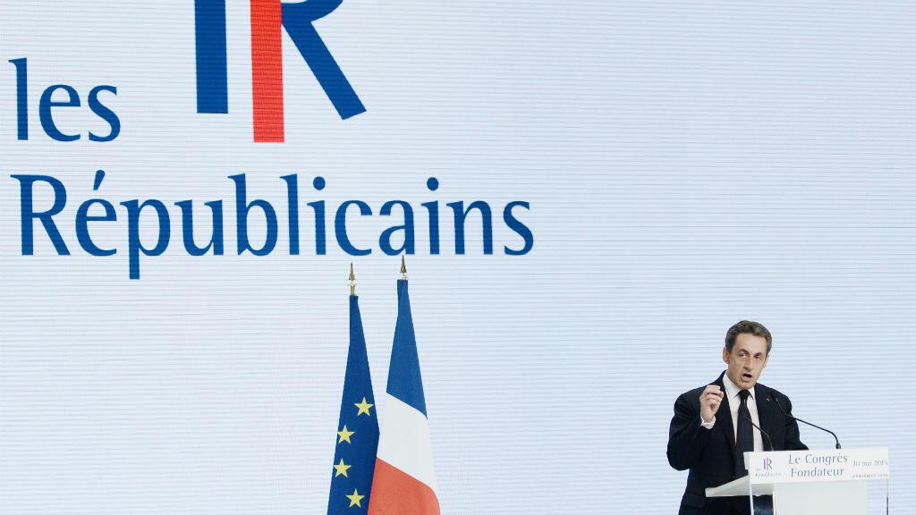 """Nicolas Sarkozy lors de son discours inaugural du parti """"Les Républicains"""", le 30 mai 2015, à Paris."""