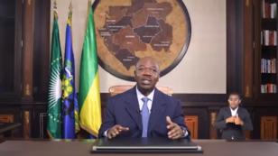 الرئيس الغابوني علي بونغو في خطابه للأمة، في 8 يونيو 2018.