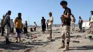 Le lieu de l'attentat à Aden, le 18 décembre 2016.