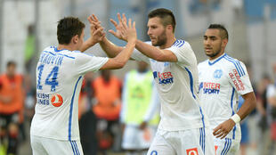Gignac fête son but lors de la victoire de l'OM face à Rennes, samedi 20 septembre (3-0).