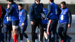 Le sélectionneur du XV de France, Fabien Galthié, lors d'un entraînement, le 11 février 2021 à Marcoussis, avant le match du Tournoi des Six nations contre l'Irlande à Dublin, le 14 février