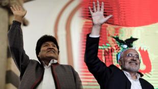 Evo Morales y Carlos Mesa levantan su mano tras conocer los resultados del conteo rápido del pasado 20 de octubre.