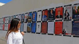 Une Tunisienne regarde les affiches des 26candidats à la présidentielle du 15septembre.