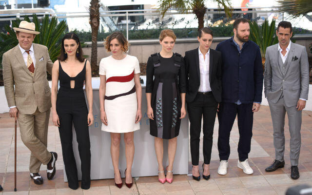 """From left to right: John C. Reilly, Rachel Weisz, Angeliki Papoulia, Léa Seydoux, Ariane Labed, Yorgos Lanthimos and Colin Farrell at the Cannes photo call for """"The Lobster""""."""