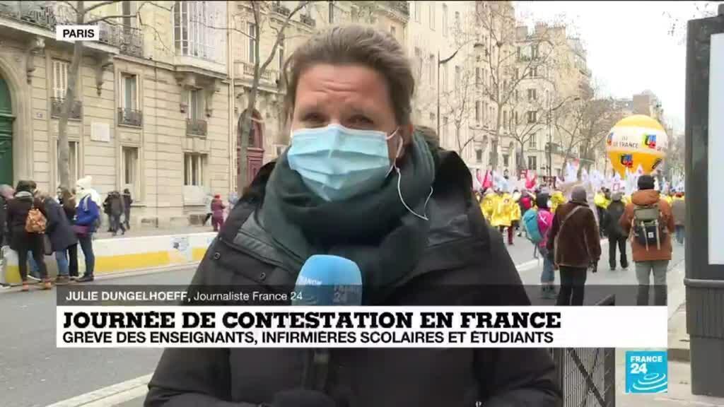 2021-01-26 13:01 Journée de contestation en France : grève des enseignants, infirmiers scolaires et étudiants