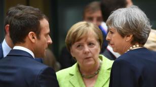 Emmanuel Macron, Angela Merkel et Theresa May réunis le 22juin 2017 pour le Conseil européen.