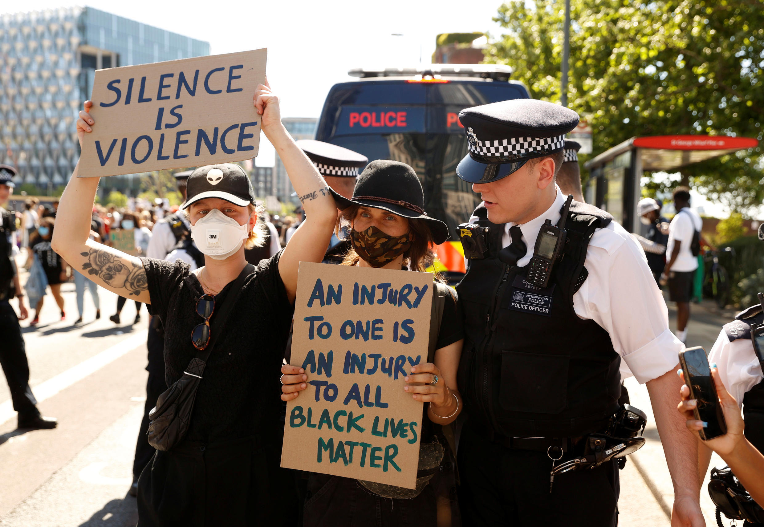 Protesters in London, Britain, May 31, 2020