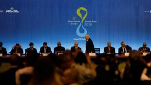 Una vista general del acto de apertura del octavo Foro Mundial del Agua en Brasilia, el cual se extenderá hasta el próximo viernes 23 de marzo