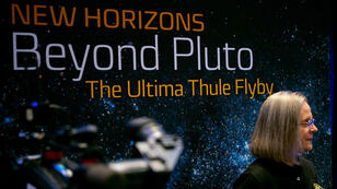 Alice Bowman, jefa de operaciones de la Misión New Horizons, en una condefencia en la Universidad Johns Hopkins. 1 de enero de 2019.