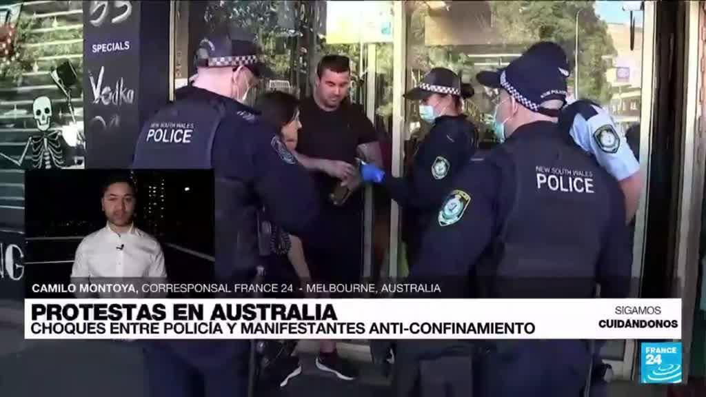 2021-08-21 14:41 Informe desde Melbourne: choques entre Policía y manifestantes anti-confinamiento en Australia