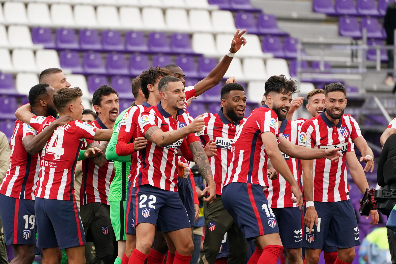 L'euphorie des joueurs de l'Atlético de Madrid, sacrés champions d'Espagne après leur victoire à Valladolid, le 22 mai 2021