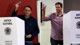Una combinación de fotos de archivo muestra a Jair Bolsonaro, legislador de extrema derecha y candidato presidencial del Partido Social Liberal (PSL), emitiéndo su voto en Río de Janeiro y Fernando Haddad, candidato presidencial del Partido Obrero de izquierda (PT), gesticulando mientras emite su voto, en Sao Paulo, Brasil, el 7 de octubre de 2018.