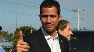 Le chef de l'opposition vénézuélienne Juan Guaido, lors de son étape en Équateur, le 2 mars 2019.