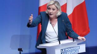 Marine Le Pen, le 13 janvier 2019 à Paris, lors du lancement de la campagne des européennes du Rassemblement national.