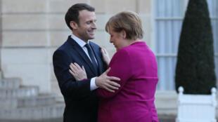 Emmanuel Macron a reçu Angela Merkel à l'Élysée le 19 janvier 2018.