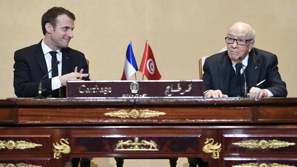 Les présidents français, Emmanuel Macron, et tunisien, Béji Caïd Essebsi, le 31 janvier 2018, à Tunis.