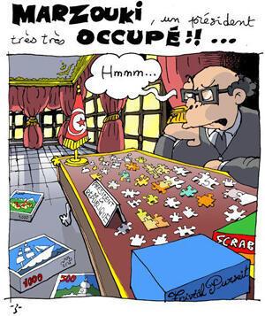 """Le caricaturiste """"Z"""" tourne en dérision le président Moncef Marzouki"""