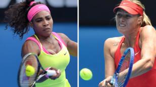 Maria Sharapova (right) has lost her last 15 encounters with Serena Williams