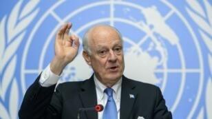 الموفد الأممي إلى سوريا ستافان دي ميستورا في 24 آذار/مارس 2016