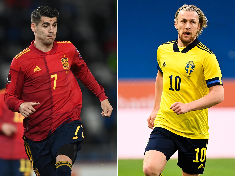 Montage photos de l'attaquant espagnol Alvaro Morata et du milieu de terrain suédois Emil Forsberg, dont les équipes s'affronteront pour leur 1er match de l'Euro 2020, le 14 juin 2021 à Séville