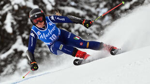 Sofia Goggia, lors du slalom géant de Kronplatz (Plan de Corones) en Italie, le 26 janvier 2021