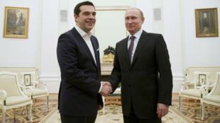 Le Premier ministre grec AlexisTsipras et Valdimir Poutine se sont entretenus mercredi 8 avril 2015 à Moscou.