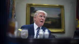 Donald Trump le 18 juillet dans la Roosevelt Room à la Maison Blanche, lors d'un déjeuner avec la presse.