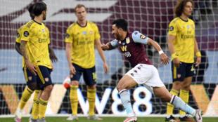 Aston Villa's Trezeguet celebrates scoring the winner against Arsenal