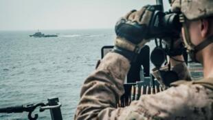 صورة نشرتها قوات المارينز الأمريكية من مضيق هرمز. 18 يوليو/تموز 2019