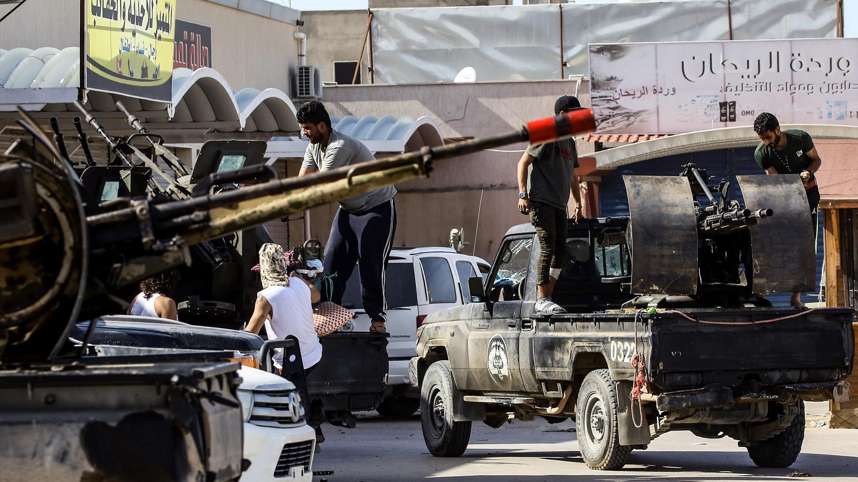 Des combattants du Gouvernement d'union national libyen au sud de la capitale Tripoli, le 10 avril 2019.