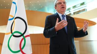 Thomas Bach, presidente del Comité Olímpico Internacional, el 25 de marzo de 2020 en Lausana