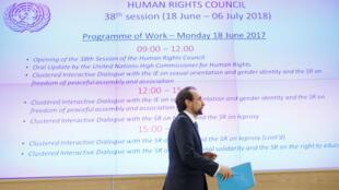 Zeid Ra'ad Al Hussein, saliente Alto Comisionado de las Naciones Unidas para los Derechos Humanos, asiste al Consejo de Derechos Humanos en Ginebra.