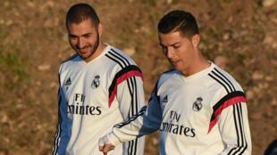 Cristiano Ronaldo et Karim Benzema à Marrakech, le 19 décembre 2014.