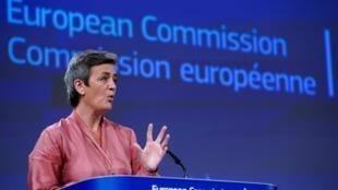 La comisaria europea de Competencia, Margrethe Vestager, el 17 de junio de 2020 en Bruselas