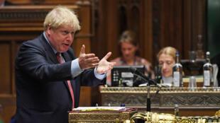 Le Premier ministre britannique, Boris Johnson, lors d'une séance à la Chambre des communes, le 15 juillet 2020.
