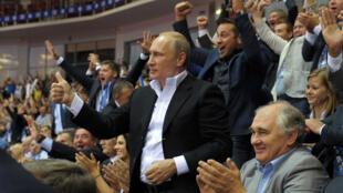 Le président russe lors des championnats du monde de judo en août 2014