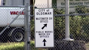 Screenshot from Reuters video of a sign in the city of Oldsmar, Florida.