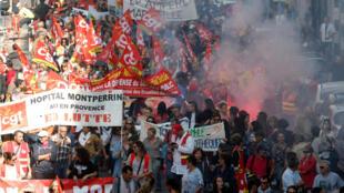 Miembros de sindicatos marchan en Marsella en contra del Gobierno de Macron. 9 de octubre de 2018.