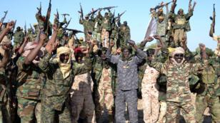 Des soldats tchadiens célèbrent leur victoire contre Boko Haram dans la ville de Gambaru, dans le nord du Nigeria, dimanche 1er février 2015.