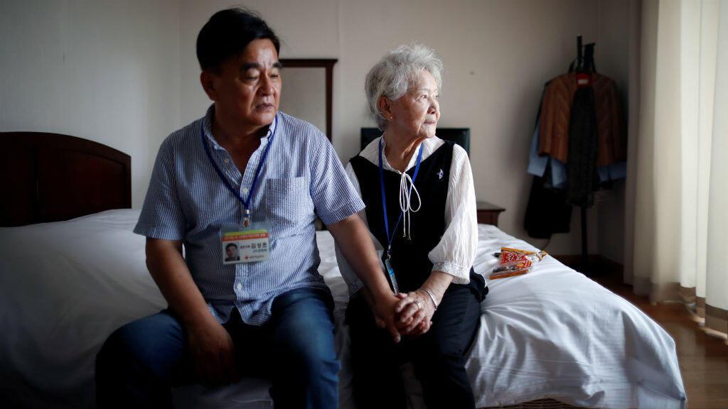 Moon Hyun-sook, una de las ancianas surcoreanas seleccionadas para reunirse con sus familiares en Corea del Norte el 19 de agosto de 2018.