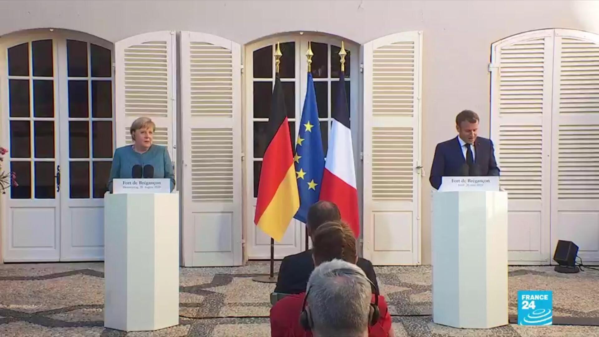Emmanuel Macron et la chancelière allemande, Angela Merkel, à Brégançon le 20 août 2020