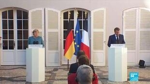French President Emmanuel Macron and German Chancellor Angela Merkel at Brégançon on August 20, 2020.
