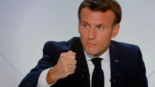 Le président français Emmanuel Macron lors d'une interview télévisée sur la situation liée au coronavirus en France, le 14 octobre 2020 à l'Elysée, à Paris