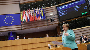 German Chancellor Angela Merkel speaks at the European Parliament in Brussels on July 8, 2020, to present Germany's priorities for its six-month EU presidency.