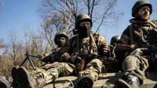 Separatistas prorusos en Donestk el 10 de abril de 2015.