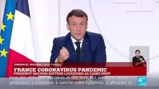 French President Emmanuel Macron sets out a 3-step path out of the country's second Covid-19 lockdown in an address to the nation on November 24, 2020.