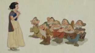 """Un cellulo original du dessin animé """"Blanche Neige et les sept nains"""" de Disney sorti en 1938."""