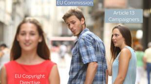 Un mème sur la réforme du droit d'auteur qui menacerait les mèmes